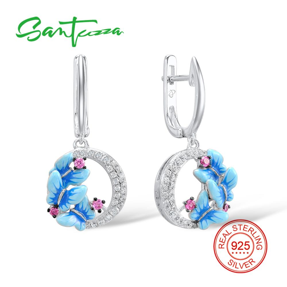SANTUZZA Silver Earrings For Women 925 Sterling Silver Dangle Butterfly Drop Earrings Cubic Zirconia brincos Jewelry Enamel