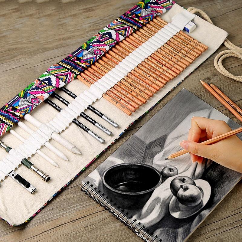 Sketch pencil set professional sketch drawing tool log painting pencil pencil bag painter school student art supplies title=