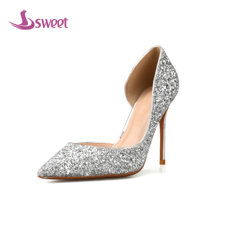 sweet Brand womens shoes pumps Spring/Autumn Basic Sequined Cloth Slip-On Pointed Toe Thin Heels Fashion Shallow Wedding A52