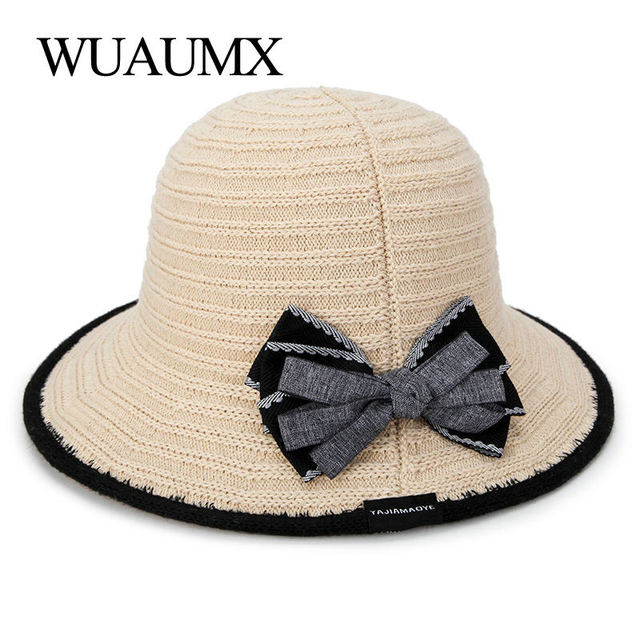 Wuaumx NEW Summer Breathable Sun Hats For Women Foldable Portable UV  protection Panama Hat Bow Summer 35278633da9