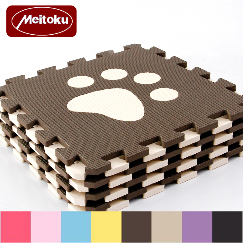 Meitoku 10pc/set Baby EVA Foam Play Puzzle Mat,Interlocked Crawl Tiles And Rug,Free Magic Carpet Each Piece 32x32cm Thick 1cm
