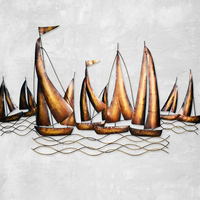 Vintage Wohnkultur Segelboot Modell Wandkunst Shabby Chic Segeln Metall Anhänger Bar Caffee Shop Ornament Anhänger