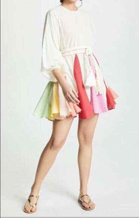Robe de soirée célébrité couleurs élégantes manches lanterne Mini robes d'été ceintures boîte de nuit femmes