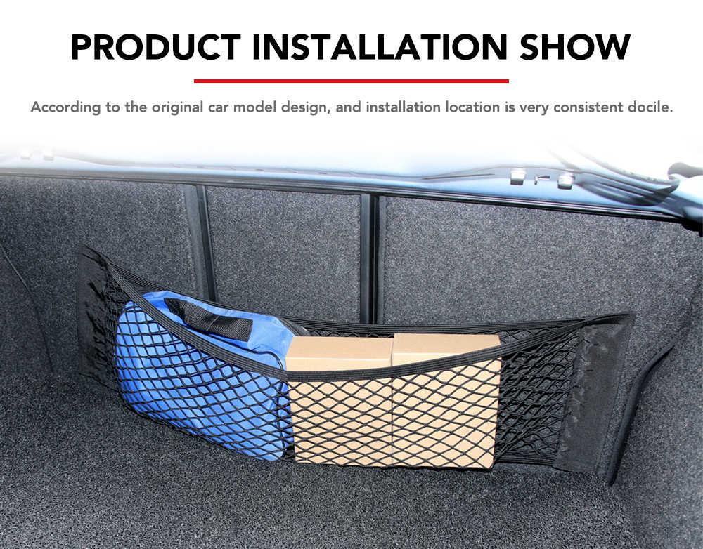 車のバックトランクシート弾性ストリングネットマジックステッカーメッシュ収納袋ポケットケージオートオーガナイザーシートバックバッグ 40*25 センチメートル