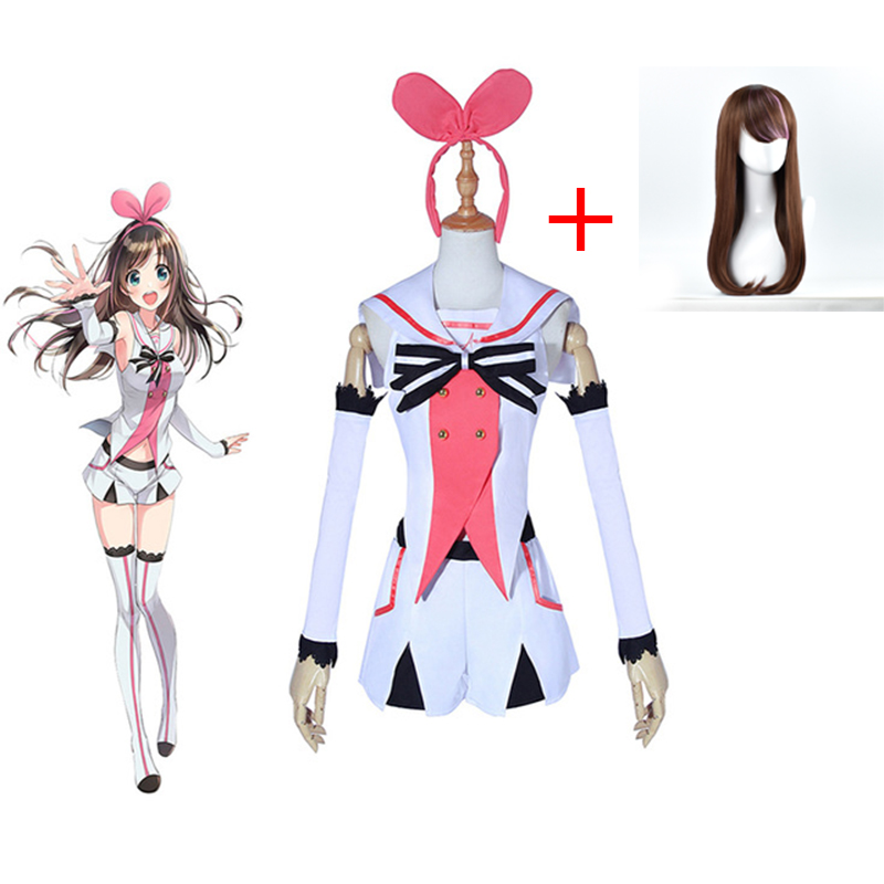 YouTuber Kizuna AI Cosplay Costume Wig Girl Uniform Halloween Party Show Dress Virtual Youtuber Role Playing Kizuna AI