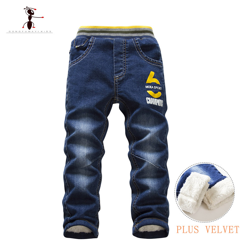 2018 Hot Sale Boys Jeans Casual Child Plus Velvet Pants Winter Kids Jeans Boys 24M Thicking Warm Denim Trousers Free Shipping free shipping splash ink print red jeans men trend of the white slim trousers personality non mainstream flower pants 28 36
