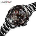 RISTOS Auto Date Watches Men Water Resistant Stainless Steel Men Watch Fashion Dress Business Design Leather Winner Quartz-Watch