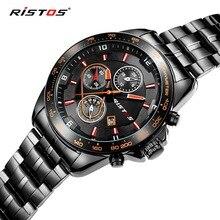 RISTOS Auto Fecha Relojes de Los Hombres de Acero Inoxidable Resistente Al Agua Reloj de Los Hombres Vestido de La Manera Diseño Ganador de Cuero de Negocios de Reloj de Cuarzo