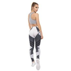 Image 4 - High Quality Women Legging Dark Gray Stripes Printing Fitness Leggings Fashion High Waist Woman Pants