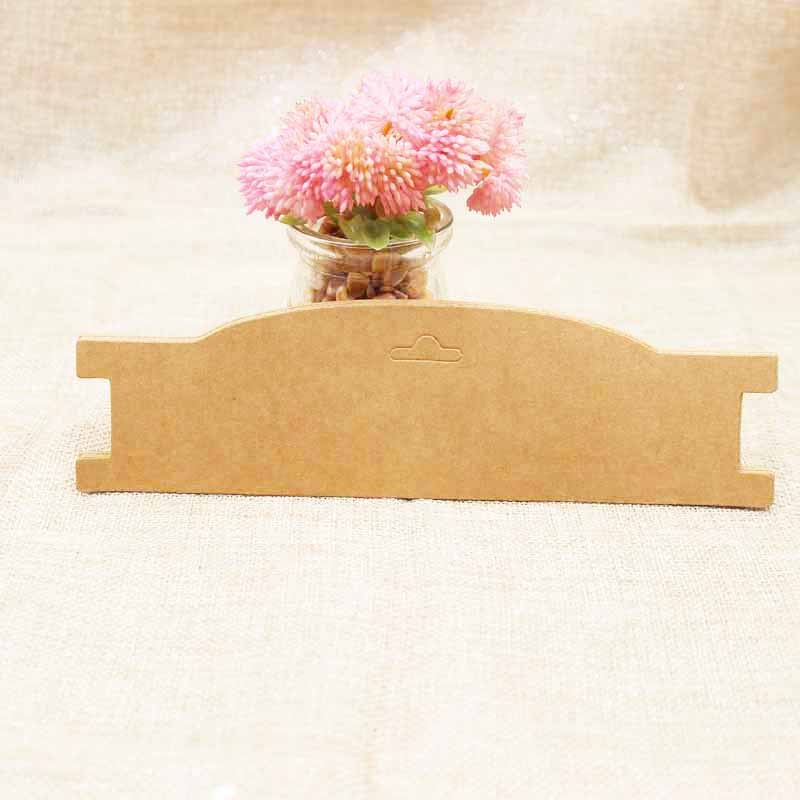 21*5.90cm 100pcs Kraft Paper Cardboard Elastic Headband Display Tag Card Hair Band Packing Card Custom Logo Cost Extra