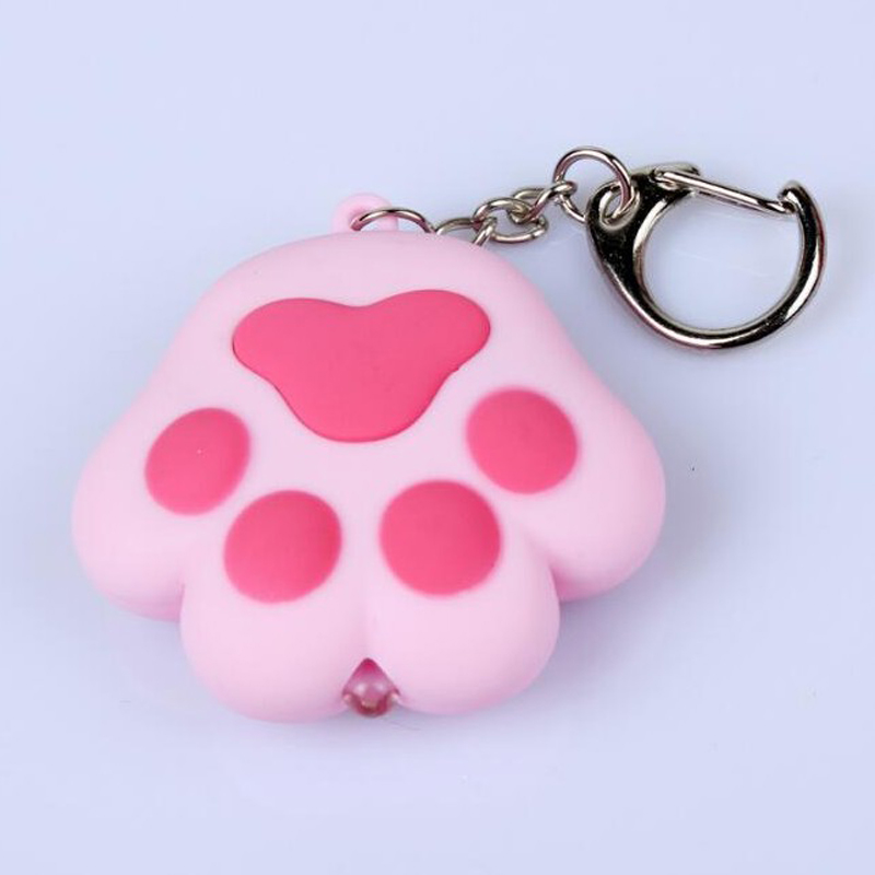 1 Pcs Cartoon Cute Keychain Cat Paw Feet Key Chain Sound Light LED Flashlight Key Ring Holder Figure Pendant Gift