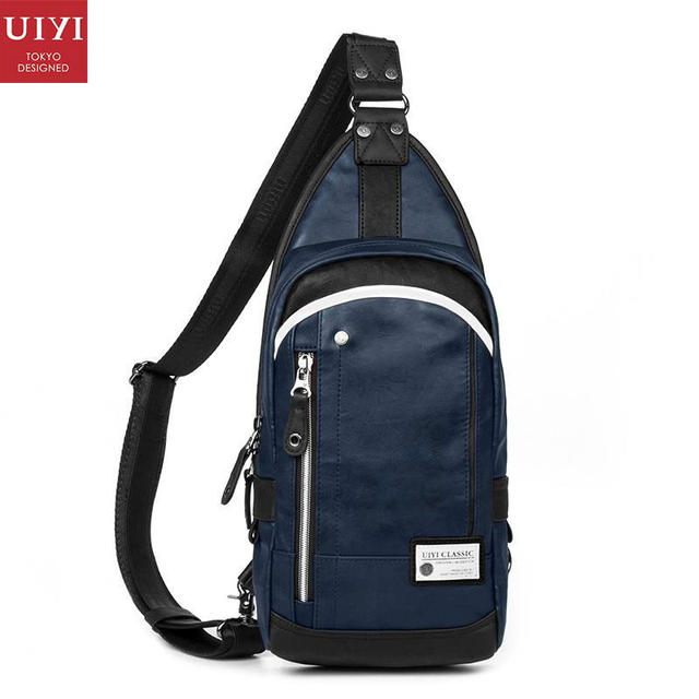 a4793810879a29 UIYI Fashion Brand Handbag Men PU Leather Chest Pack Bag Crossbody Shoulder  Sling Bags Men Blue