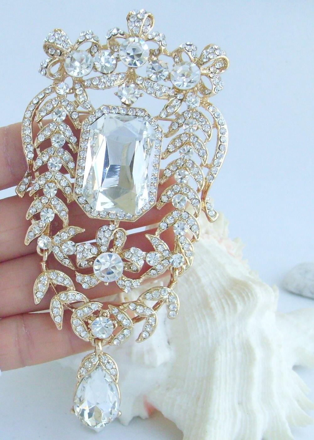 """Свадьба 4,5"""" золотой тон прозрачный горный хрусталь, страз каплевидный цветок брошка заколка медальон EE04910C6"""