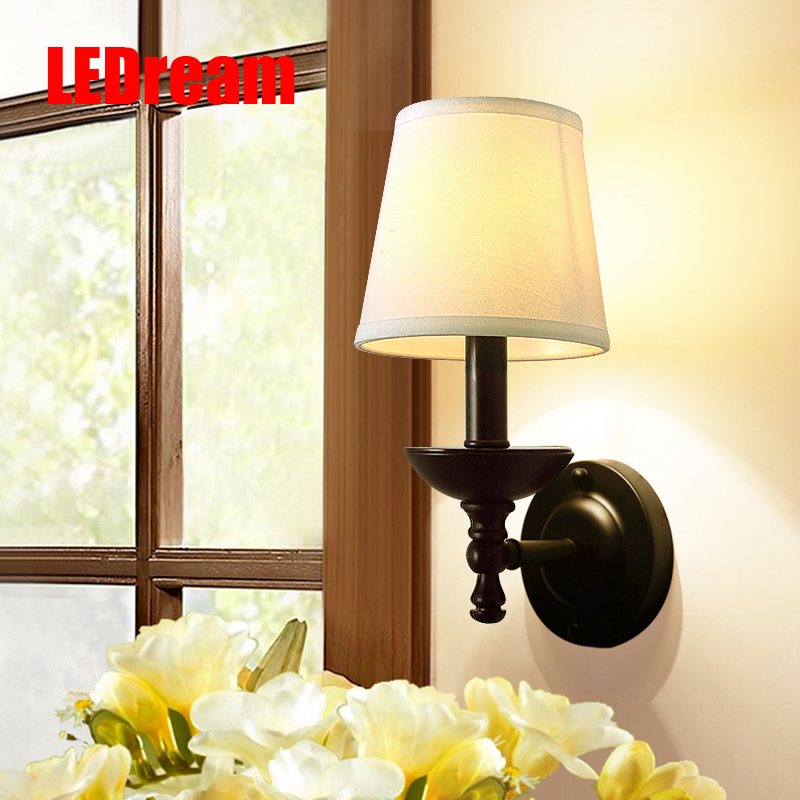 LEDream American background wall, wrought iron wall lamp of bedroom the head of a bed lens headlight study single head wall lamp creative lamp the dog contemporary and contracted study lamp bedroom the head of a bed folding the mywood art lighting