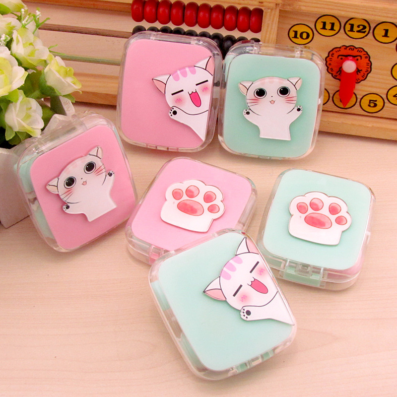 LIUSVENTINA Portable DIY Acrylic Cute White Cat And Paw Contact Lens Case With Mirror For Color Lenses Gift For Girls