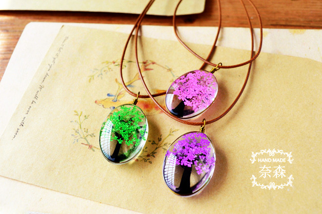 HTB1KF4qQpXXXXcuXpXXq6xXFXXXU - Handmade Natural Dry Flowers Life Tree Long Necklaces & Pendants