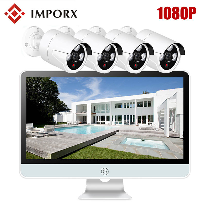 4CH 1080P HD Wireless NVR Kit P2P 16 LCD Monitor 2MP Security IP Camera WIFI Home CCTV System Kits IR Night Vision Outdoor цена
