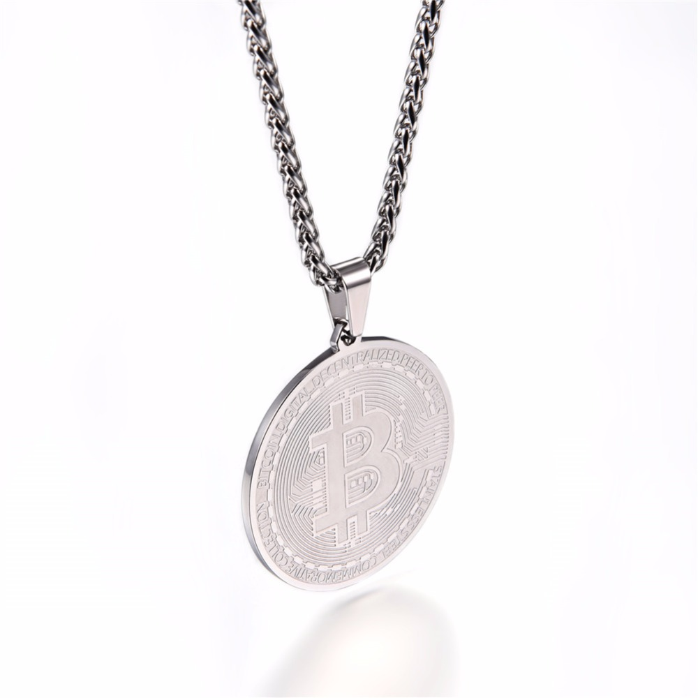 Steel/Gold/Black Bitcoin Pendant 3