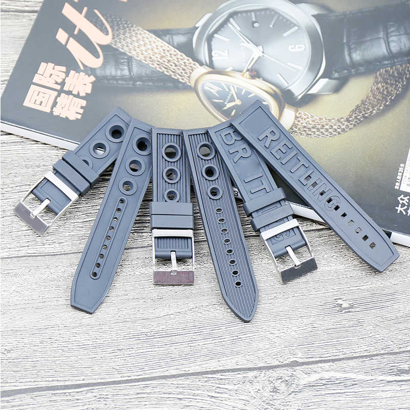 Men's silicone strap watch accessories pin buckle 22mm 24mm for Breitling series ladies rubber sports waterproof strap Send tool