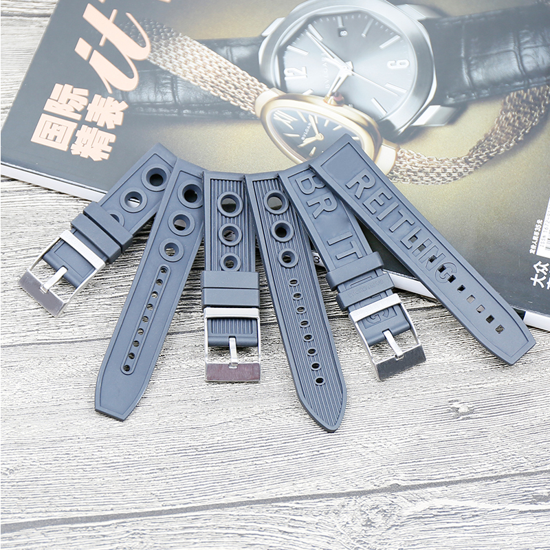 Men's silicone <font><b>strap</b></font> watch accessories pin buckle 22mm <font><b>24mm</b></font> for <font><b>Breitling</b></font> series ladies rubber sports waterproof <font><b>strap</b></font> Send tool image