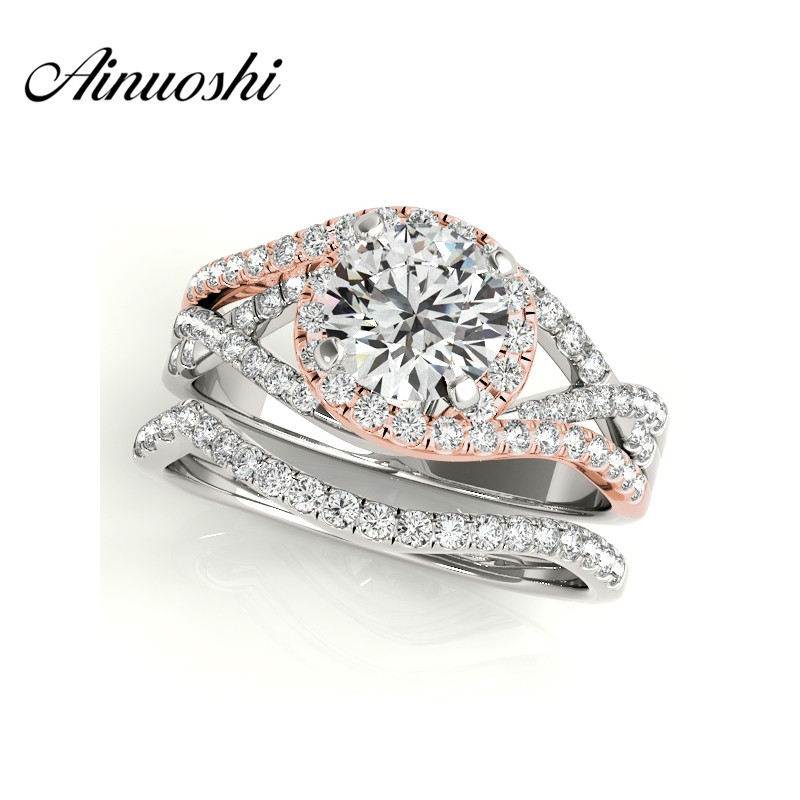 AINUOSHI 925 Sterling Silver Rose Gold Color Women Ring Sets 1ct Round Cut Engagement Anniversary Halo Bridal Ring Sets Jewelry цена 2017