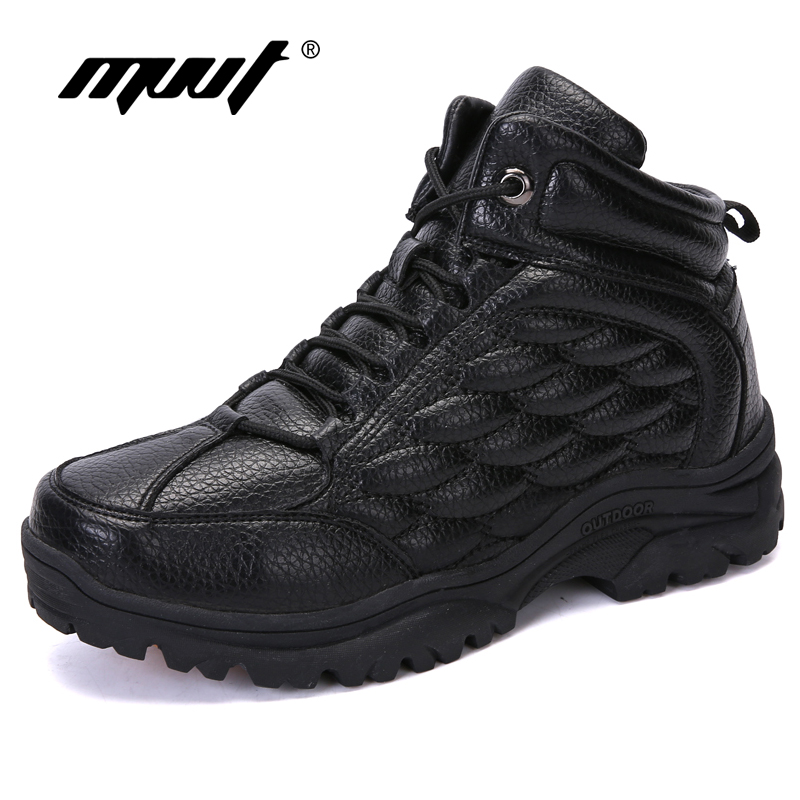 Keep Warm Winter Boots With Fur For Men Waterproof Split Leather Men Boots Outdoor Snow Boots Non-slip Platform Ankle Boots