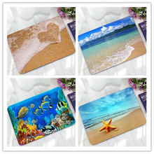 Sea Wave Beach Love Heart Starfish Doormat for Entrance Door Rubber Flooring Kitchen Welcome Mat Home Carpet Rug Tapete