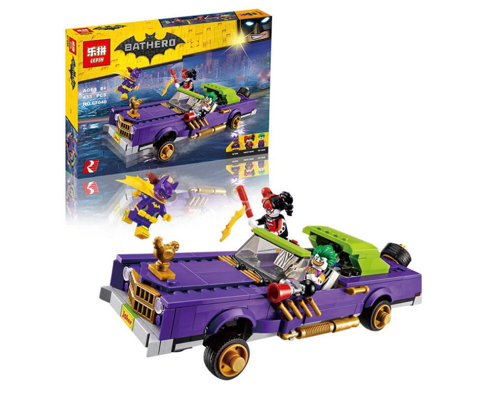 443pcs Super Heroes Lepin Movie Building Blocks 07046 The Joker Notorious Boy for Girl Kids Toys For Children genuine movie building blocks toys batman super hero car joker notorious lowrider harley quinn compatible lepin 07046 kids gifts