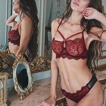 Sexy Bra Lace Transparent Unlined Bralette Wire Free Thin Mesh Women Panties Underwear Push Up Lingerie Set 2019