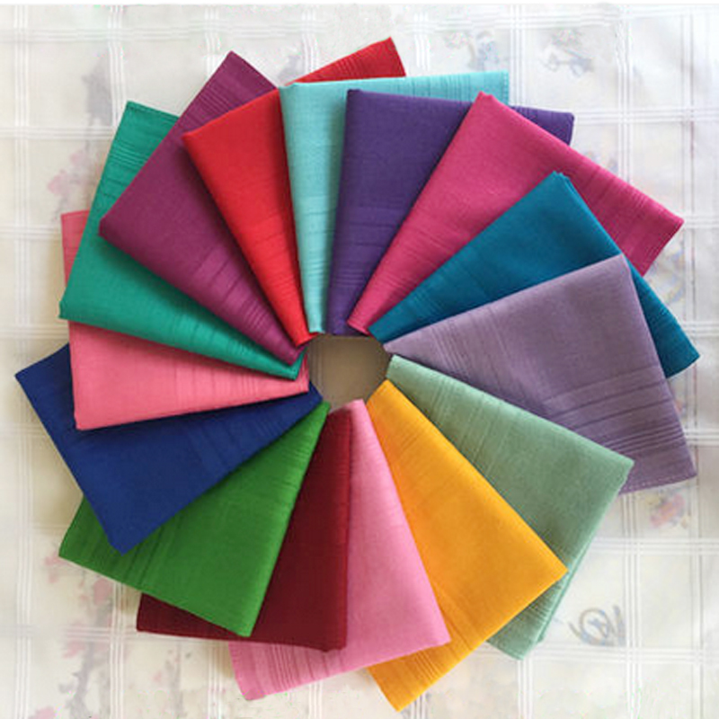 3Pieces/lot 100% Cotton Plain Satin Handkerchief Color Solid Handkerchiefs Unisex Men & Women Handkerchiefs 43* 43cm 16color