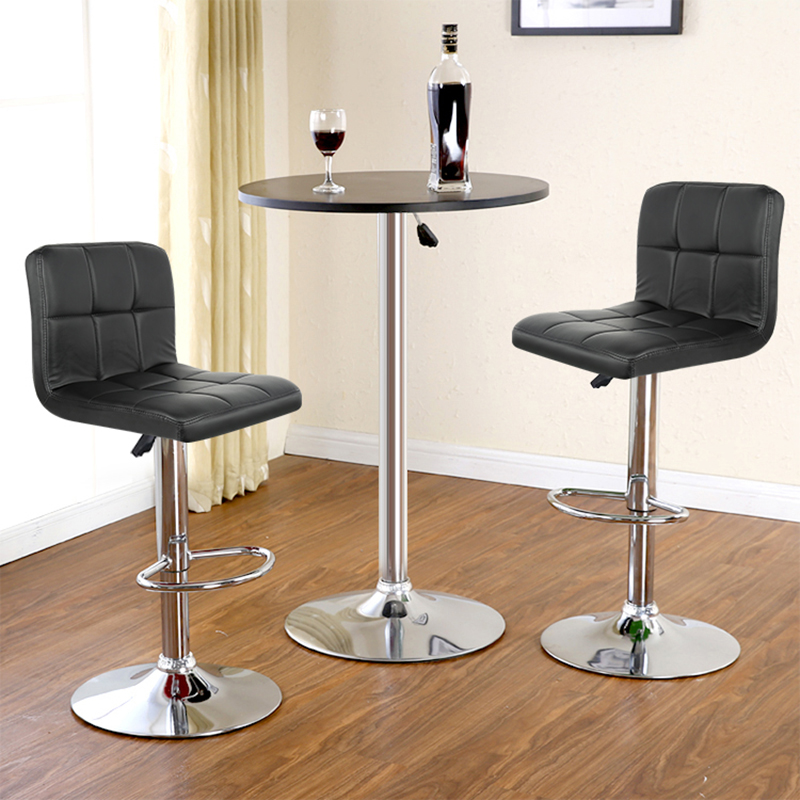 JEOBEST 2pcs Synthetic Leather Swivel Bar Stools Chairs Height Adjustable Pneumatic Heavy-duty Counter Pub Chair 2 Color HWC