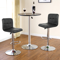 JEOBEST 2pcs Synthetic Leather Swivel Bar Stools Chairs Height Adjustable Pneumatic Heavy duty Counter Pub Chair 2 color HWC