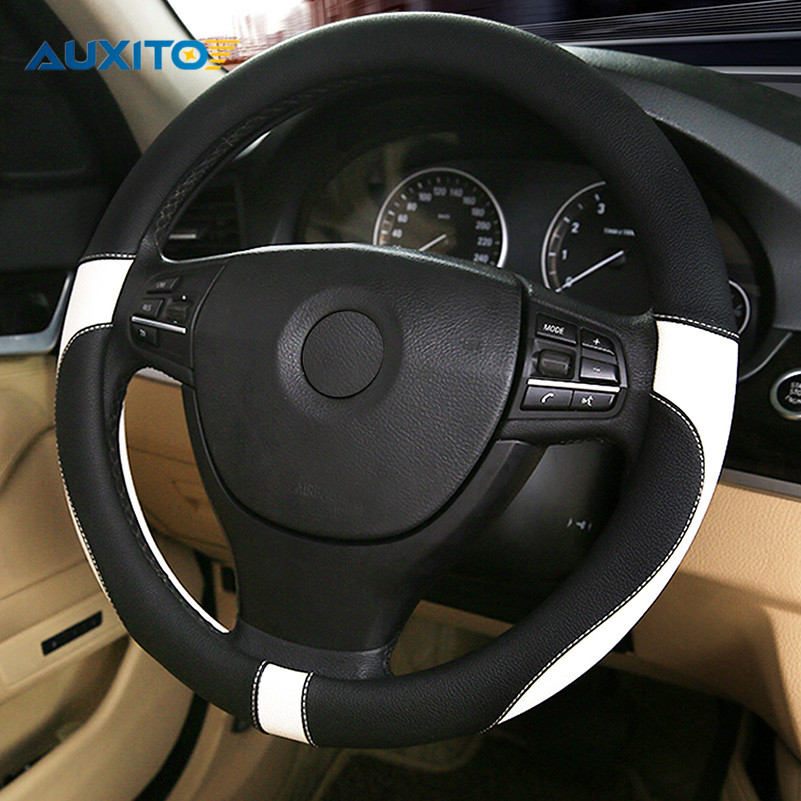 38CM Car Steering Wheel Cover For Ford Focus 2 1 Fiesta Mondeo 4 3 Transit Fusion Kuga Ranger Mk2 Mustang KA S-max Ecosport car wind 38 cm genuine leather car steering wheel cover black steering wheel cover for bmw vw gol polo hyundai car accessories
