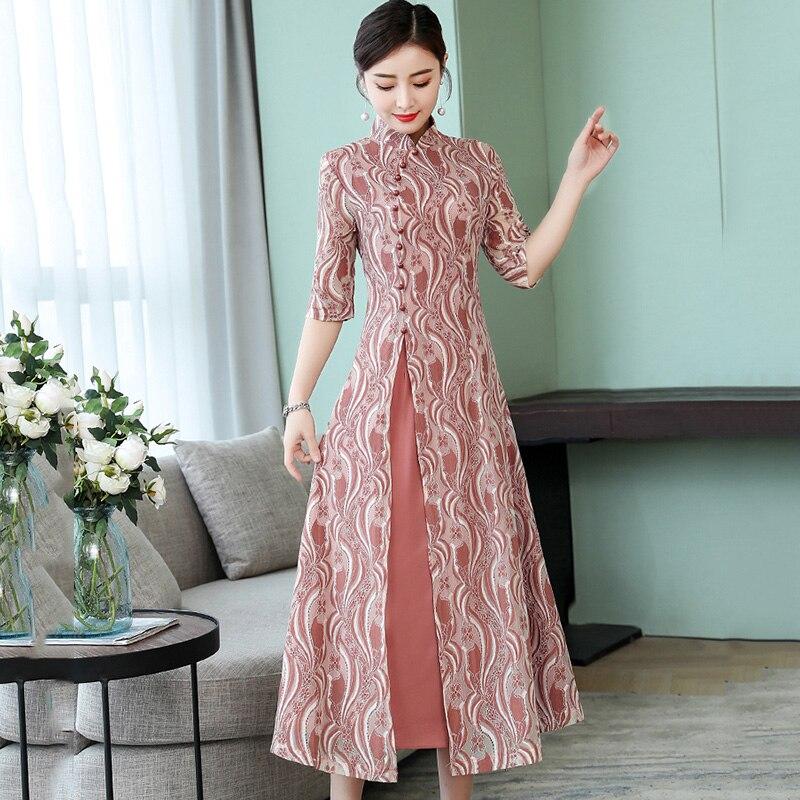 2019 Women Vietnam Aodai Print Flower Long Ao Dai Vietnam Traditional Silk Dress Half Sleeve Long Cheongsam Oriental Dress