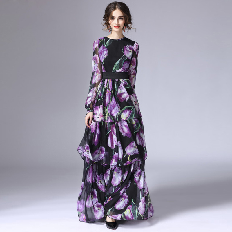 High quality New Fashion 2017 Runway Maxi Dress Womens Long Sleeve Vintage Tiered Tulip Floral Printed Long Dress