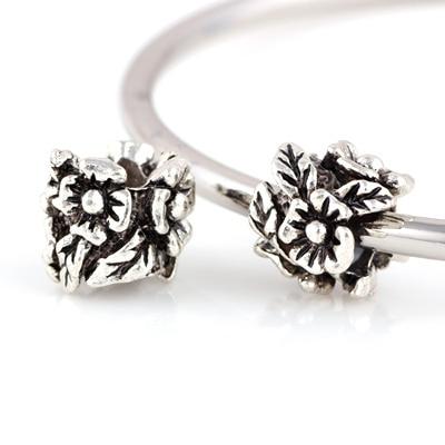 10 Pcs a Lot Silver Beads Three-dimensional Flowers Shape Bead DIY Big Hole Metal Beads Charm Fit For Pandora Charms Bracelet