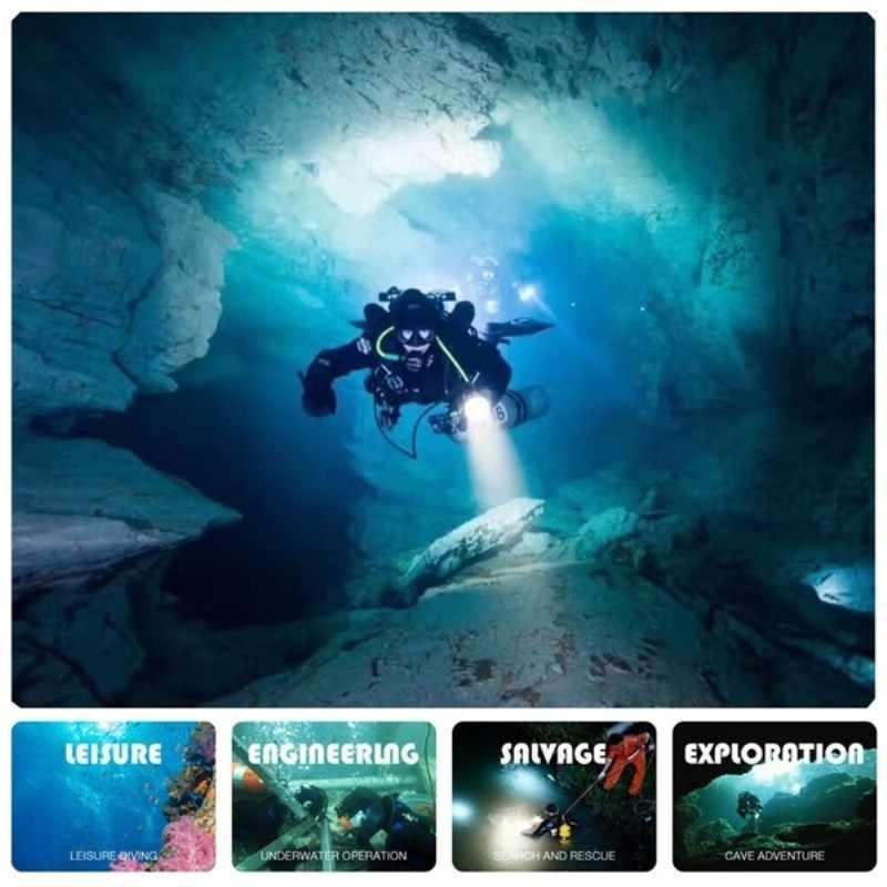 מקצועי צלילה אור 200 מטר L2 עמיד למים IPX8 מתחת למים LED פנס צלילה קמפינג Lanterna לפיד על ידי 18650