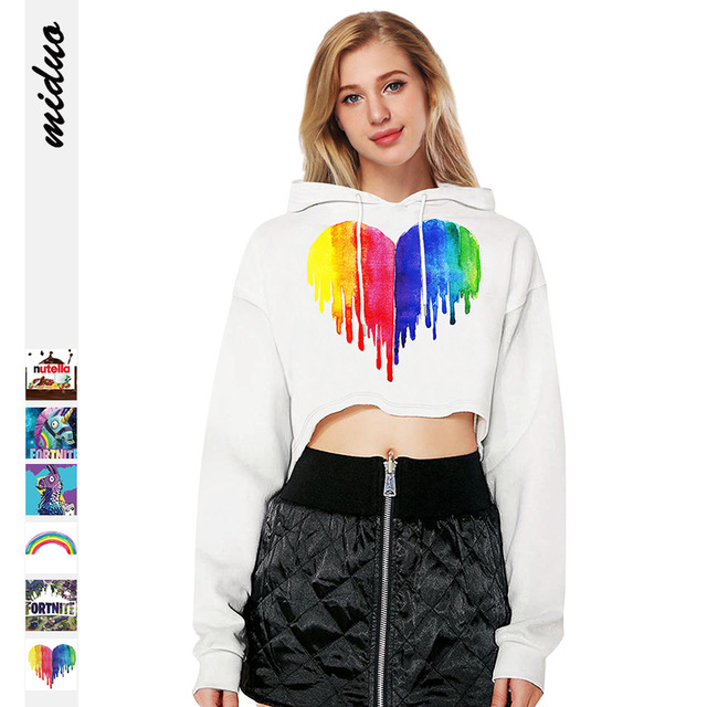 Women Sexy Crop Sweatshirts Full Sleeve Cropped Gothic 3D Hoodies Colorful  Paint Heart Nutella Rainbow Galaxy Food Pullover Tops 00be6afdb123