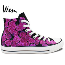 Wen Original Hand Painted Shoes Design Custom Purple Roses Flowers Birthday Gifts for Women Girls High Top Canvas Sneakers