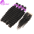 7A Peruvian Virgin Hair Deep Wave With Closure Human Hair Weave With Closure 4 Bundles Deep Wave With 1 Bundles Lace Closure