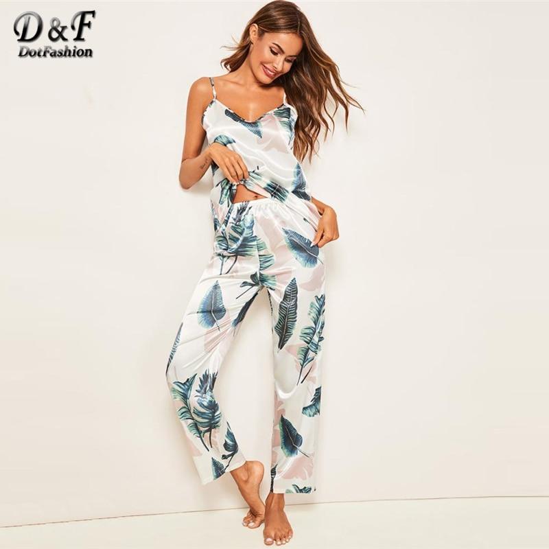 Dotfashion Tropical Print Satin Cami Pajama Set Women Clothes 2019 Summer Sleeveless Casual Lounge Sleepwear Ladies Nightwear