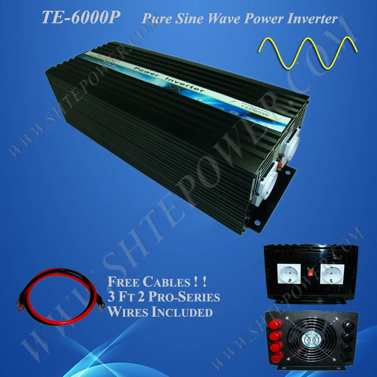 Off Grid Solar Power Inverter, 6000w 24vdc to 120vac inverter, Pure Sine Wave Power Invertor