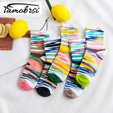 2019 Graffiti Fashion Sweet Tube Socks Candy Color Cotton Women Colorful Stripes Breathable College Wind
