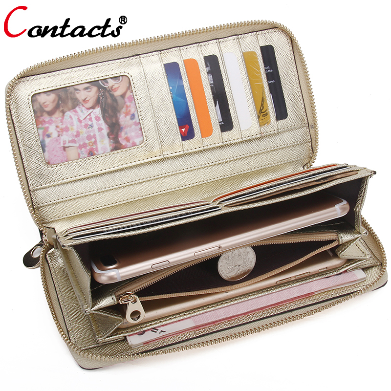 CONTACT'S Ladies Genuine Leather Wallet Women Wallet Female Purse Card Wallet Gold Clutch Credit Card Holder Coin Purse Phone туники love my body туника
