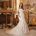 Venda quente Elegante Da Sereia Vestidos de Casamento 2017 Custom made Lace Apliques Boat Neck Mangas 3/4 Vestidos de Noiva Robe De Mariage