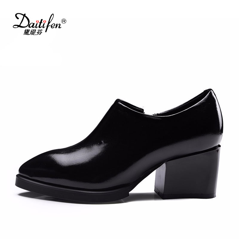 2017 New Spring Office Lady Shoes Thick Heels Genuine Leather Pumps Women's Shoes Slip-on Zipper Pumps Black Red Pointed Toe egonery new sweet lady round toe faux leather slip air spring dress women pumps heels shoes top size us 12