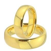 Altın iyon kaplama tungsten karbür yüzükler çiftler severler düğün bantları bir çift erkek 6mm ve kadın 4mm düz