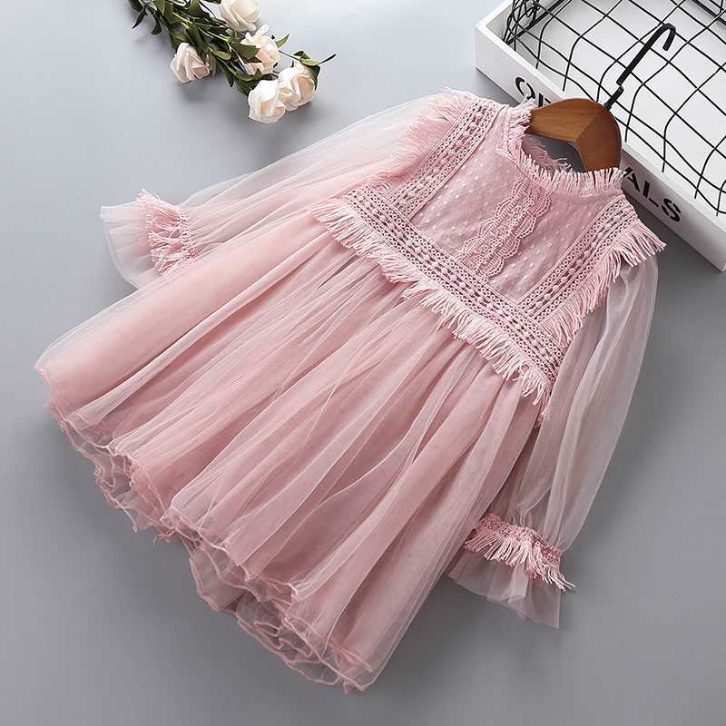 0-7 years High quality   girl     dress   2019 new spring lace mesh chiffon   flower   kid children clothing   girls   party princess   dress
