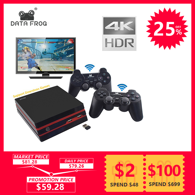 Data Frog 2018 Video Game Console 4K HDMI Output Retro 600 Classic 64 BitFamily Video Games 2.4G Wireless double Gamepad Console цена