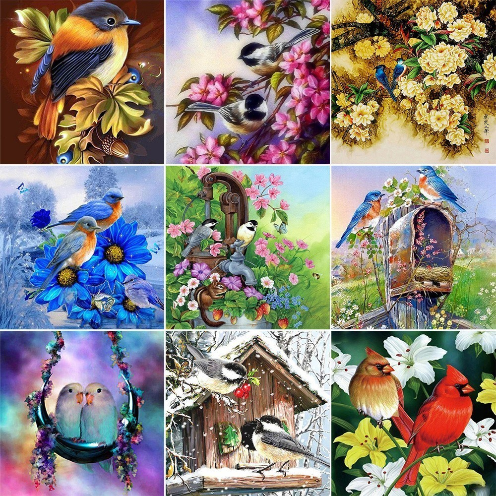 Huacan 5D Diamond Painting Full Square Animal Diamond Embroidery Birds And Flower Cross Stitch Rhinestones Diamond Mosaic SetsHuacan 5D Diamond Painting Full Square Animal Diamond Embroidery Birds And Flower Cross Stitch Rhinestones Diamond Mosaic Sets